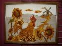 Картина янтарная Петух